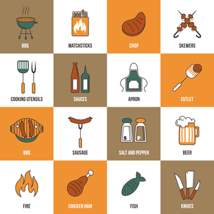 Bbq grill party utensil flat line icons set with beer chicken salt and pepper isolated vector illustのイラスト素材 [FYI03067029]