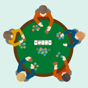 People playing poker game on the table top view vector illustrationのイラスト素材 [FYI03067032]
