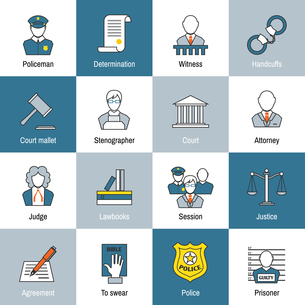 Law justice and legislation flat line icons set of judge scales courthouse and jail isolated vectorのイラスト素材 [FYI03067033]