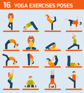 Woman silhouettes in yoga poses exercises icons set isolated vector illustrationのイラスト素材 [FYI03067039]