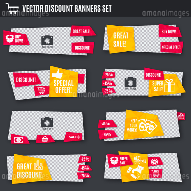 Discount super sale special offer yellow and red paper banners set isolated vector illustrationのイラスト素材 [FYI03067045]