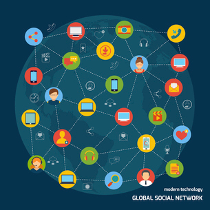Social media network concept with avatars and mobile devices icons connected vector illustrationのイラスト素材 [FYI03067049]