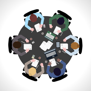 Business team meeting concept top view people on table vector illustrationのイラスト素材 [FYI03067057]