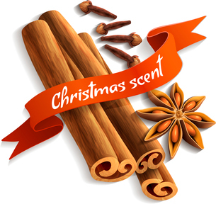 Spices delicious flavors christmas scent ribbon badge vector illustrationのイラスト素材 [FYI03067058]