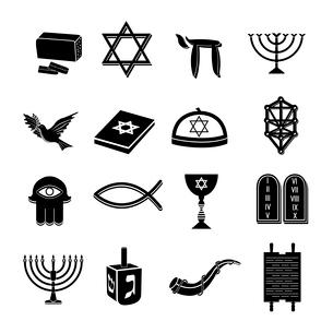 Juwish church traditional religious symbols black icons set isolated vector illustrationのイラスト素材 [FYI03067060]