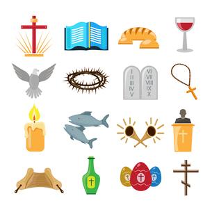 Christian church traditional symbols icons set isolated vector illustrationのイラスト素材 [FYI03067061]