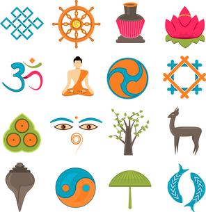 Buddhism church traditional symbols icons set isolated vector illustrationのイラスト素材 [FYI03067064]