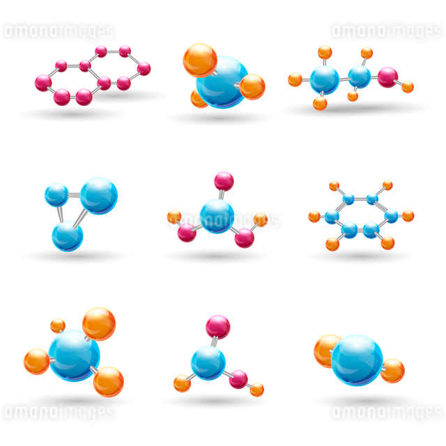 3d atomic structure chemical molecule models isolated vector illustrationのイラスト素材 [FYI03067066]