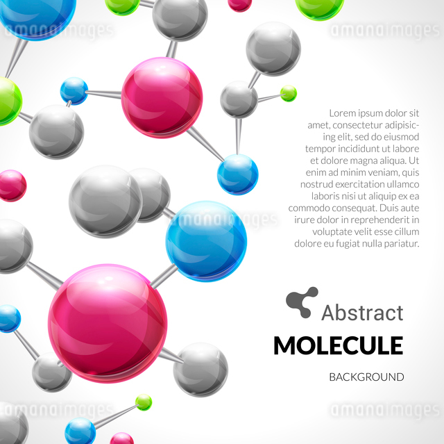 3d chemical science atomic structure molecule model background vector illustrationのイラスト素材 [FYI03067067]