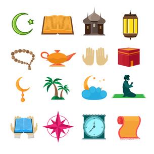 Islamic church traditional symbols icons set isolated vector illustrationのイラスト素材 [FYI03067068]