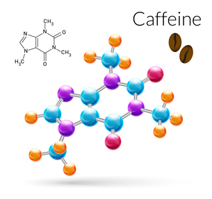 Caffeine 3d molecule chemical science atomic structure poster vector illustrationのイラスト素材 [FYI03067069]