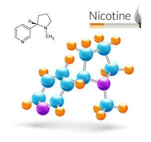 Nicotine 3d molecule chemical science atomic structure and cigarette poster vector illustrationのイラスト素材 [FYI03067070]