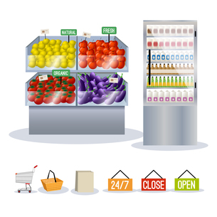 Supermarket fruits and vegetables on shelves set and shopping signs isolated vector illustrationのイラスト素材 [FYI03067079]
