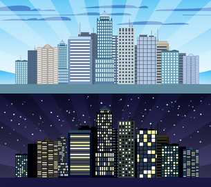 Modern urban building cityscape skyline day and night tileable borders set isolated vector illustratのイラスト素材 [FYI03067082]