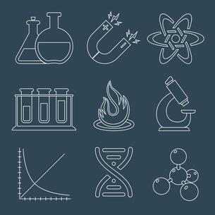 Physics education science laboratory equipment  scientific outline icons set isolated vector illustrのイラスト素材 [FYI03067084]