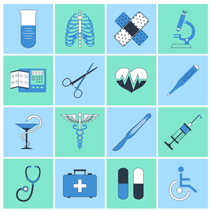 Medical emergency first aid care flat line icons set with heart pill thermometer isolated vector illのイラスト素材 [FYI03067110]