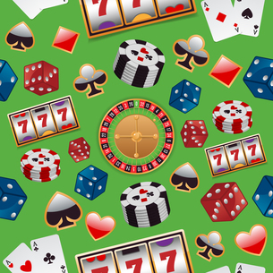 Casino color design elements with gambling poker roulette seamless pattern vector illustrationのイラスト素材 [FYI03067113]
