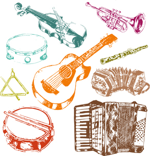 Classic musical concert instruments icons set of key accordion fiddle drum color doodle sketch vectoのイラスト素材 [FYI03067114]