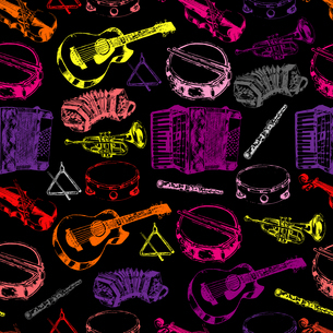 Decorative wall paper classical musical instruments background seamless pattern with drum trumpet guのイラスト素材 [FYI03067115]