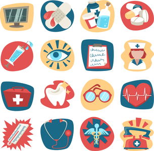 Hospital medical health care first aid icons set isolated vector illustrationのイラスト素材 [FYI03067117]