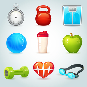 Sport and fitness realistic icons set isolated vector illustrationのイラスト素材 [FYI03067118]