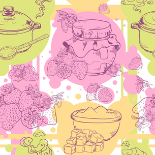 Sweet and healthy homemade strawberry jam seamless pattern vector illustrationのイラスト素材 [FYI03067120]