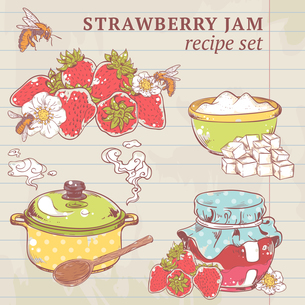 Sweet and healthy homemade strawberry jam ingredients on lined paper vector illustrationのイラスト素材 [FYI03067121]