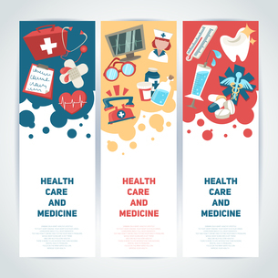 Health care and medicine medical vertical banners set isolated vector illustrationのイラスト素材 [FYI03067125]