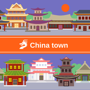 China town with traditional buildings tileable border vector illustrationのイラスト素材 [FYI03067126]