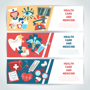 Health care and medicine medical horizontal banners set isolated vector illustration.のイラスト素材 [FYI03067128]
