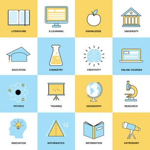 Education flat line icons set with literature e-learning knowledge isolated vector illustrationのイラスト素材 [FYI03067132]