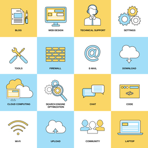 Web flat line icons set isolated with blog design technical support isolated vector illustrationのイラスト素材 [FYI03067133]