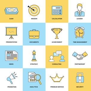 Marketing flat line icons set of cash mission calculation isolated vector illustrationのイラスト素材 [FYI03067134]