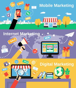 Digital mobile internet marketing line banners set isolated vector illustrationのイラスト素材 [FYI03067143]