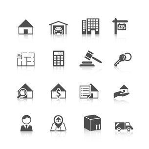 Real estate black icons set of house plan apartment valuation and choosing isolated vector illustratのイラスト素材 [FYI03067149]