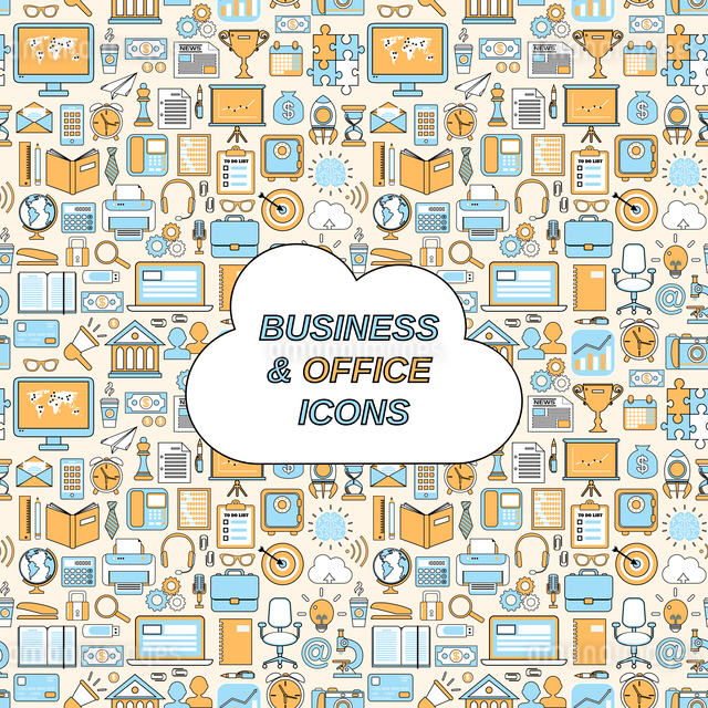 Business and office icons seamless pattern vector illustrationのイラスト素材 [FYI03067151]