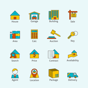 Real estate flat line icons set of house garage building isolated vector illustrationのイラスト素材 [FYI03067154]