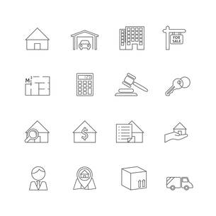 Real estate outline icons set of commercial property business isolated vector illustrationのイラスト素材 [FYI03067155]