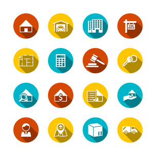 Real estate flat icons set of key plan auction isolated vector illustrationのイラスト素材 [FYI03067156]