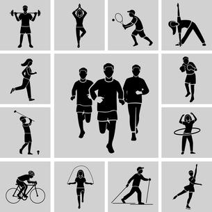 Sport professional and leisure people activities black icons set isolated vector illustrationのイラスト素材 [FYI03067159]