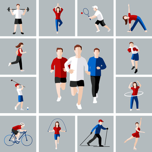 Sport and leisure people activities icons set isolated vector illustrationのイラスト素材 [FYI03067160]