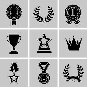 Award icons black set of crown star laurel wreath isolated vector illustrationのイラスト素材 [FYI03067161]