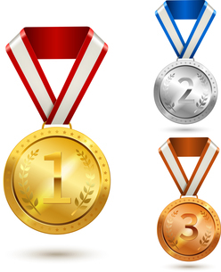 Gold silver and bronze medal awards isolated vector illustrationのイラスト素材 [FYI03067162]