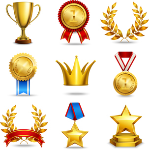 Award icons set of trophy medal winner prize champion cup isolated vector illustrationのイラスト素材 [FYI03067165]