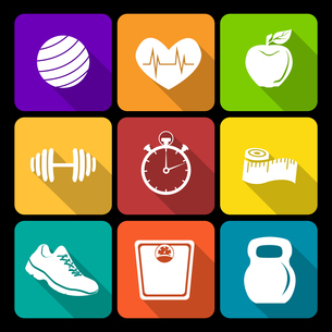 Fitness bodybuilding diet exercise flat icons set isolated vector illustrationのイラスト素材 [FYI03067169]
