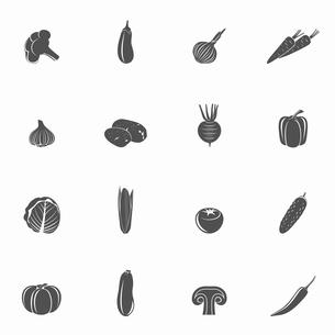 Food vegetables black set of eggplant potato paprika isolated vector illustrationのイラスト素材 [FYI03067170]