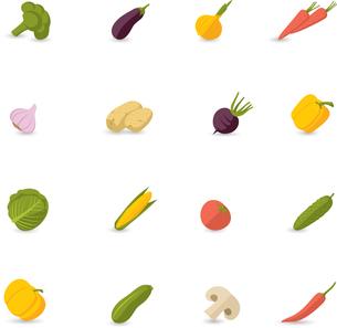 Food vegetables flat set of pepper pumpkin broccoli onion garlic isolated vector illustrationのイラスト素材 [FYI03067171]