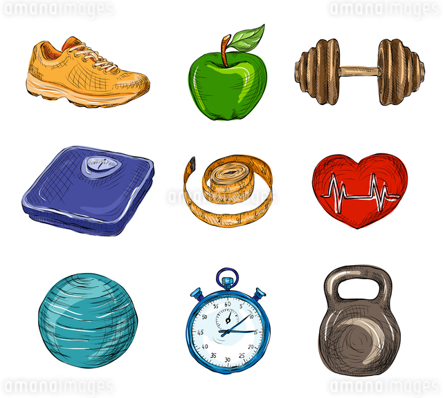 Fitness bodybuilding diet colored sketch icons set isolated vector illustrationのイラスト素材 [FYI03067172]