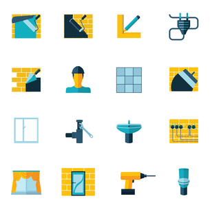 Home repair diy renovation housework icons set flat isolated vector illustrationのイラスト素材 [FYI03067175]