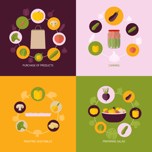 Food vegetables flat set of products purchase canning roasting preparing salad isolated vector illusのイラスト素材 [FYI03067176]
